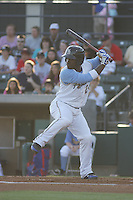 Myrtle Beach Pelicans shortstop Odubel Herrera #24 at bat during a game against the Wilmington Blue Rocks at Tickerreturn.com Field at Pelicans Ballpark on April 8, 2012 in Myrtle Beach, South Carolina. Wilmington defeated Myrtle Beach by the score of 3-2. (Robert Gurganus/Four Seam Images)