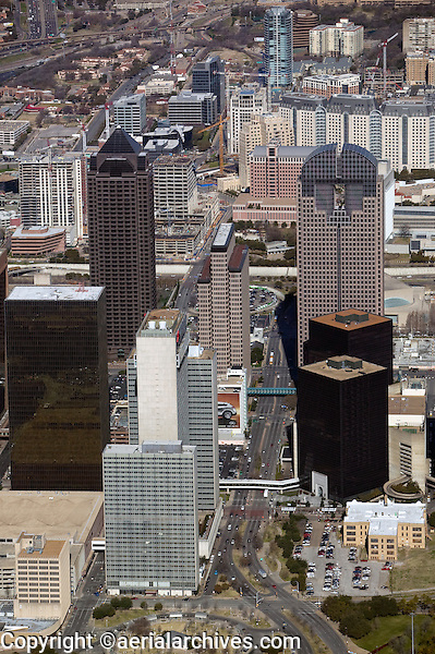 aerial photograph of Chase Tower, Trammel Crow Center, North Pearl St., Dallas, Texas
