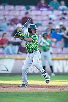 Eugene Emeralds shortstop Luis Vazquez (7) at bat during a Northwest League game against the Salem-Keizer Volcanoes at Volcanoes Stadium on August 31, 2018 in Keizer, Oregon. The Eugene Emeralds defeated the Salem-Keizer Volcanoes by a score of 7-3. (Zachary Lucy/Four Seam Images)