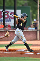Bristol Pirates first baseman Jhoan Herrera (14) swings at a pitch during a game against the Elizabethton Twins at Joe O'Brien Field on July 30, 2016 in Elizabethton, Tennessee. The Twins defeated the Pirates 6-3. (Tony Farlow/Four Seam Images)