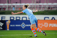 Michelle Wenino (16) of Sky Blue FC celebrates scoring. Sky Blue FC and magicJack SC played to a 2-2 tie during a Women's Professional Soccer (WPS) match at Yurcak Field in Piscataway, NJ, on July 09, 2011.
