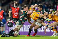 21st May 2021; Twickenham, London, England; European Rugby Challenge Cup Final, Leicester Tigers versus Montpellier; Jasper Wiese and Matias Moroni of Leicester Tigers tackle Corbus Reinach of Montpellier Rugby
