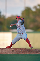 Clearwater Threshers relief pitcher Luis Ramirez (43) during a Florida State League game against the Dunedin Blue Jays on May 11, 2019 at Jack Russell Memorial Stadium in Clearwater, Florida.  Clearwater defeated Dunedin 9-3.  (Mike Janes/Four Seam Images)