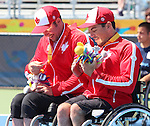 Toronto, Ontario, August 12, 2015.Philippe Bedard and Joel Dembe  win bronze medal in the Wheelchair tennis  during the 2015 Parapan Am Games . Photo Scott Grant/Canadian Paralympic Committee
