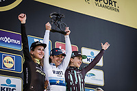 Podium<br /> 16th Ronde van Vlaanderen 2019<br /> women's elite race<br /> <br /> 1st place Marta Bastianelli (ITA/Team Virtu Cycling)<br /> 2nd place Annemiek Van Vleuten (NED/Mitchelton Scott)<br /> 3th place Cecile Ludwig (NOR/Bigla Pro Cycling)<br /> <br /> <br /> <br /> ©kramon