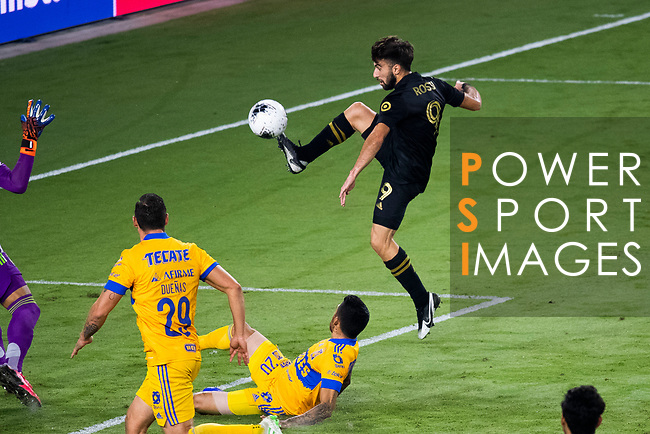 Diego Rossi of Los Angeles FC (USA) scores against Tigres UANL (MEX) during their CONCACAF Champions League Final match at the Orlando's Exploria Stadium on 22 December 2020, in Florida, USA. Photo by Victor Fraile / Power Sport Images