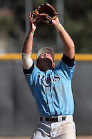 Dan Haverstick #17 of the Rhode Island Rams waits to catch a pop up against the Cal State Northridge Matadors at Matador Field on March 14, 2012 in Northridge,California. Rhode Island defeated Cal State Northridge 10-8.(Larry Goren/Four Seam Images)