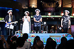 TV personality and film critic Lilico and the members of the Swedish boy band ''JTR'' speak to the audience during a live show as a part of the Special Summer Live 2015 events in IKSPIARI shopping mall at Tokyo Disney Resort on August 25, Tokyo, Japan. John Andreasson, Tom Lundback and Robin Lundback members of JTR have been in Japan since August 19th promoting their new album ''Oh My My'' which goes on sale from August 26. (Photo by Rodrigo Reyes Marin/AFLO)