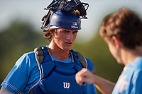 Cole Russo (22) during the WWBA World Championship at Terry Park on October 10, 2020 in Fort Myers, Florida.  Cole Russo, a resident of Tampa, Florida who attends Tampa Jesuit High School, is committed to UCF.  (Mike Janes/Four Seam Images)