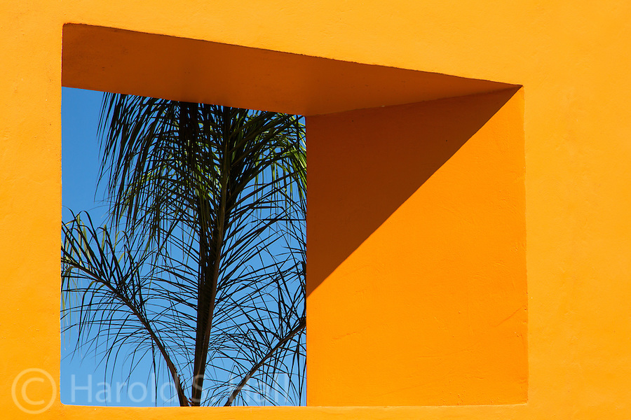 Bright Mexican architecture in the mid-day sun.
