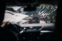 teamcars making their way up the gravel roads of the Colle delle Finestre <br /> <br /> stage 19: Venaria Reale - Bardonecchia (184km)<br /> 101th Giro d'Italia 2018