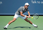 Novak Djokovic (SRB) loses to Roger Federer (SUI) 7-6, 6-2 at the Western and Southern Open in Mason, OH on August 23, 2015.