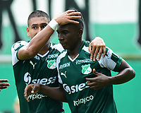 PALMIRA - COLOMBIA, 27-10-2018: Kevin Velasco (Der) jugador del Deportivo Cali celebra después de anotar el primer gol de su equipo a Jaguares de Córdoba durante partido por la fecha 17 de la Liga Águila II 2017 jugado en el estadio Palmaseca de la ciudad de Palmira. / Kevin Velasco (R) player of Deportivo Cali celebrates after scoring the first goal of his team to Jaguares de Cordoba during match for the date 17 of the Aguila League II 2017 played at Palmaseca stadium in Palmira city.  Photo: VizzorImage/ Nelson Rios / Cont
