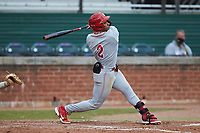 David Glancy (2) of the St. John's Red Storm at bat against the Western Carolina Catamounts at Childress Field on March 12, 2021 in Cullowhee, North Carolina. (Brian Westerholt/Four Seam Images)