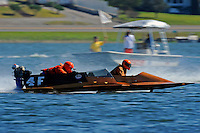 """Howie Nichols (4-F) and """"X""""  (hydro)....Stock  Outboard Winter Nationals, Ocoee, Florida, USA.13/14 March, 2010 © F.Peirce Williams 2010"""