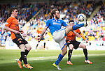 St Johnstone v Dundee United...19.04.14    SPFL<br /> Stevie May and Andy Robertson<br /> Picture by Graeme Hart.<br /> Copyright Perthshire Picture Agency<br /> Tel: 01738 623350  Mobile: 07990 594431