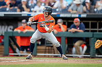 Auburn Tigers outfielder Judd Ward (1) squares to bunt during Game 4 of the NCAA College World Series against the Mississippi State Bulldogs on June 16, 2019 at TD Ameritrade Park in Omaha, Nebraska. Mississippi State defeated Auburn 5-4. (Andrew Woolley/Four Seam Images)