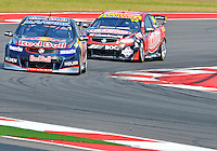 May 19, 2013 Jamie Whincup #1 of Triple Eight Engineering is chased down by Fabian Coulthard #14 of Lockwood Racing during V8 Supercars race 16 on day three of Austin 400 in Austin, TX.