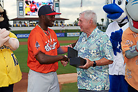 Palm Beach Cardinals Randy Arozarena shakes hands with League President Ken Carson before the Florida State League All-Star Game on June 17, 2017 at Joker Marchant Stadium in Lakeland, Florida.  Arozarena won the home run derby with five home runs after the finals were called due to inclement weather.  FSL North All-Stars  defeated the FSL South All-Stars  5-2.  (Mike Janes/Four Seam Images)