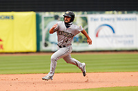 Montgomery Biscuits left fielder Cal Stevenson (4) hustles to third base against the Tennessee Smokies on May 9, 2021, at Smokies Stadium in Kodak, Tennessee. (Danny Parker/Four Seam Images)