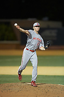 North Carolina State Wolfpack relief pitcher Andrew Blake (25) makes a pick-off throw to first base during the game against the Wake Forest Demon Deacons at David F. Couch Ballpark on April 18, 2019 in  Winston-Salem, North Carolina. The Demon Deacons defeated the Wolfpack 7-3. (Brian Westerholt/Four Seam Images)