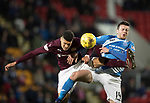 St Johnstone v Hearts…05.04.17     SPFL    McDiarmid Park<br />Joe Shaughnessy feels Bjorn Johnsen's tackle<br />Picture by Graeme Hart.<br />Copyright Perthshire Picture Agency<br />Tel: 01738 623350  Mobile: 07990 594431