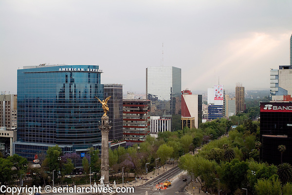 aerial photograph of La Reforma at American Express and the Angel de la Independencia roundabout, Mexico City
