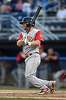 Brooklyn Cyclones outfielder Tucker Tharp (5) at bat during a game against the Batavia Muckdogs on August 11, 2014 at Dwyer Stadium in Batavia, New York.  Batavia defeated Brooklyn 4-3.  (Mike Janes/Four Seam Images)