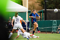 TACOMA, WA - JULY 31: Sofia Huerta #11 of the OL Reign takes a shot on goal during a game between Racing Louisville FC and OL Reign at Cheney Stadium on July 31, 2021 in Tacoma, Washington.