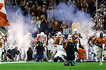 The Texas Longhorns get ready for action before the Advocare V100 Texas Bowl game between the Arkansas Razorbacks and the Texas Longhorns at the NRG Stadium in Houston, Texas. Arkansas defeats Texas 31 to 7