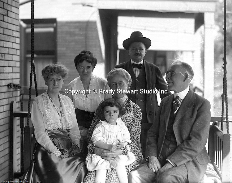 Wilkinsburg PA:  The Stewart and Brady families getting together for a family dinner at Brady Stewart's house.  Front row; Madge Brady Sipe, Alice Brady Stewart, Helen Stewart, George Morton Brady, Sarah Mathews Stewart, Homer Clark Stewart