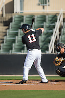 Chris Curley (11) of the Kannapolis Intimidators at bat against the West Virginia Power at CMC-Northeast Stadium on April 21, 2015 in Kannapolis, North Carolina.  The Power defeated the Intimidators 5-3 in game one of a double-header.  (Brian Westerholt/Four Seam Images)