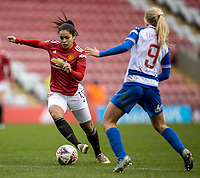 7th February 2021; Leigh Sports Village, Lancashire, England; Women's English Super League, Manchester United Women versus Reading Women; Ivana Fuso of Manchester United Women looks to get past Amalie Eikeland of Reading