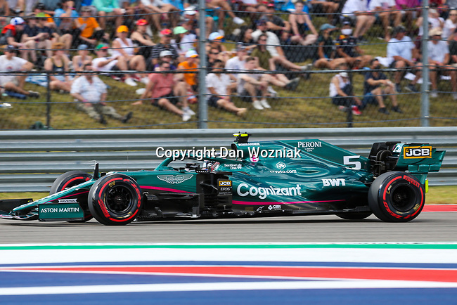 Scuderia Ferrari Mission Winnow driver Sebastian Vettel (5) of Team Germany in action during the Formula 1 Aramco United States Grand Prix practice session held at the Circuit of the Americas racetrack in Austin,Texas.