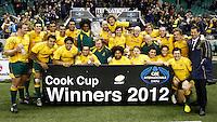 Photo: Richard Lane/Richard Lane Photography. England v Australia. QBE Autumn Internationals. 17/11/2012. Australia celebrate victory with the  Cook Cup.