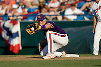Clemson 1B Richie Shaffer in Game 14 of the NCAA Division One Men's College World Series on June 26th, 2010 at Johnny Rosenblatt Stadium in Omaha, Nebraska.  (Photo by Andrew Woolley / Four Seam Images)