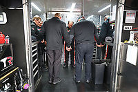 Feb 23, 2020; Chandler, Arizona, USA; NHRA top fuel driver Billy Torrence (center) prays with crew members during the Arizona Nationals at Wild Horse Pass Motorsports Park. Mandatory Credit: Mark J. Rebilas-USA TODAY Sports