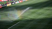 San Diego, Ca - Sunday, January 21, 2018: Sprinkler with Rainbow during a USWNT 5-1 victory over Denmark at SDCCU Stadium.