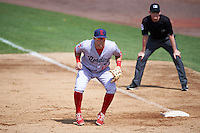Reading Fightin Phils first baseman Rhys Hoskins (12) in position as umpire Ryan Wills looks on during a game against the New Hampshire Fisher Cats on May 30, 2016 at Northeast Delta Dental Stadium in Manchester, New Hampshire.  New Hampshire defeated Reading 9-1.  (Mike Janes/Four Seam Images)