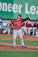 Reed Rohlman (19) of the Idaho Falls Chukars during a game against the Ogden Raptors at Lindquist Field on August 29, 2018 in Ogden, Utah. Idaho Falls defeated Ogden 15-6. (Stephen Smith/Four Seam Images)
