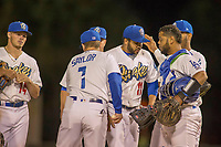 Rancho Cucamonga Quakes starting pitcher Jordan Sheffield (11) is removed from the game by manager Drew Saylor (7) during the inning in a game with the Inland Empire 66ers at LoanMart Field on April 12, 2018 in Rancho Cucamonga, California. The 66ers defeated the Quakes 5-4.  (Donn Parris/Four Seam Images)
