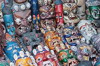 Nepal, Kathmandu.  Deity Masks.