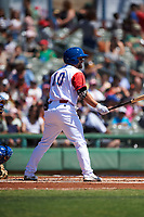 Stockton Ports second baseman Nate Mondou (10) at bat during a California League game against the Rancho Cucamonga Quakes at Banner Island Ballpark on May 17, 2018 in Stockton, California. Stockton defeated Rancho Cucamonga 2-1. (Zachary Lucy/Four Seam Images)