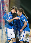 St Johnstone v St Mirren.....11.01.14   SPFL<br /> Murray Davidson celebrates his goal with Frazer Wright, Nigel Hasselbaink and Stevie May<br /> Picture by Graeme Hart.<br /> Copyright Perthshire Picture Agency<br /> Tel: 01738 623350  Mobile: 07990 594431