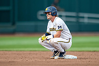 Michigan Wolverines catcher Joe Donovan (0) on second base during Game 1 of the NCAA College World Series against the Texas Tech Red Raiders on June 15, 2019 at TD Ameritrade Park in Omaha, Nebraska. Michigan defeated Texas Tech 5-3. (Andrew Woolley/Four Seam Images)