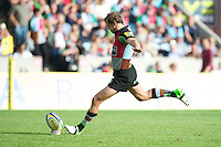 Nick Evans of Harlequins takes a successful conversion kick during the Aviva Premiership match between Harlequins and Sale Sharks at The Twickenham Stoop on Saturday 15th September 2012 (Photo by Rob Munro)
