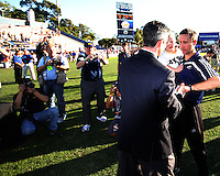 Coach Caleb Porter of the University of Akron after the 2010 College Cup final against the University of Louisville at Harder Stadium, on December 12 2010, in Santa Barbara, California.Akron champions, 1-0.