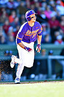 Clemson Tigers left fielder Drew Wharton (13) runs to first base during a game against the South Carolina Gamecocks at Fluor Field on March 3, 2018 in Greenville, South Carolina. The Tigers defeated the Gamecocks 5-1. (Tony Farlow/Four Seam Images)