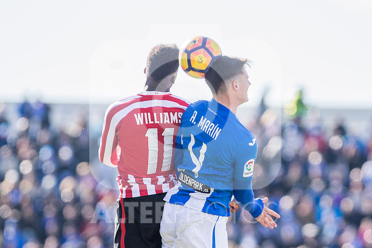 Atletic de Bilbao's Inaki Williams, Club Deportivo Leganes's Adrian Marin during the match of La Liga between Leganes and Athletic Club at Butarque Stadium  in Madrid , Spain. January  14, 2017. (ALTERPHOTOS/Rodrigo Jimenez)