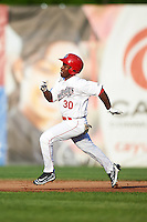 Auburn Doubledays center fielder Daniel Johnson (30) running the bases during a game against the Williamsport Crosscutters on June 25, 2016 at Falcon Park in Auburn, New York.  Auburn defeated Williamsport 5-4.  (Mike Janes/Four Seam Images)